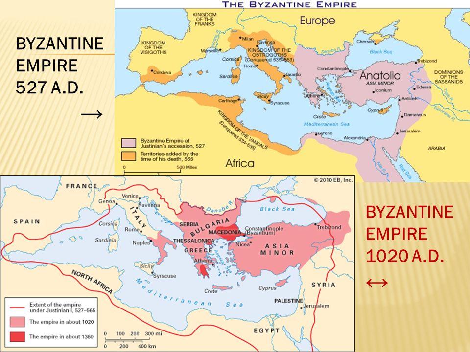 BYZANTINE EMPIRE 527 A.D. → BYZANTINE EMPIRE 1020 A.D. ↔
