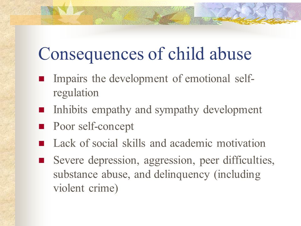 child abuse and delinquency That childhood physical and psychological abuse increase the risk of a child's  running  child abuse delinquency mediation runaway youths victimization.