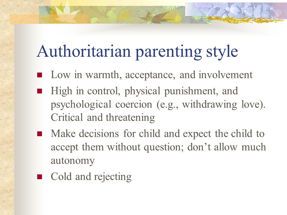 evaluating the most effective parenting styles with In the 1960s the old 'victorian' values (high control, stricter morals, rigid rules) of the authoritarian parenting style were slowly making way to a somewhat more relaxed parenting style, namely the authoritative parenting style (still high in control but also high in responsiveness as well.