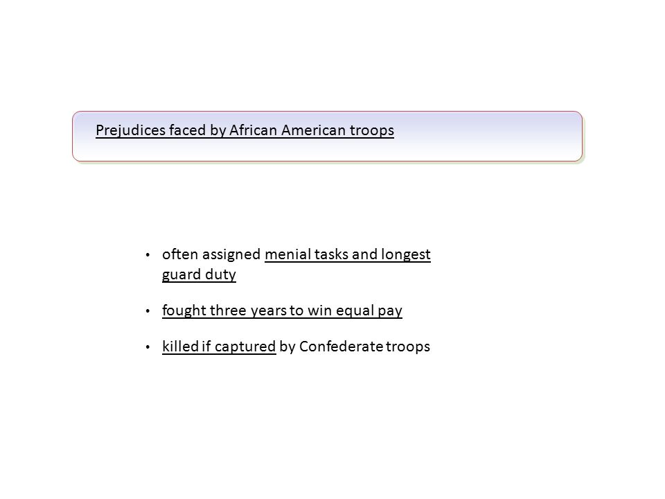 Prejudices faced by African American troops