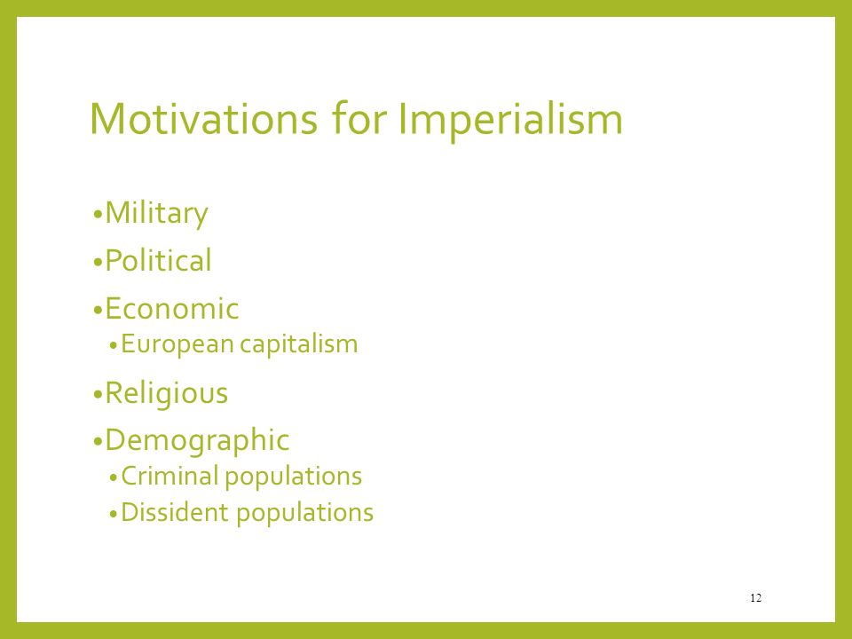 Motivations for Imperialism