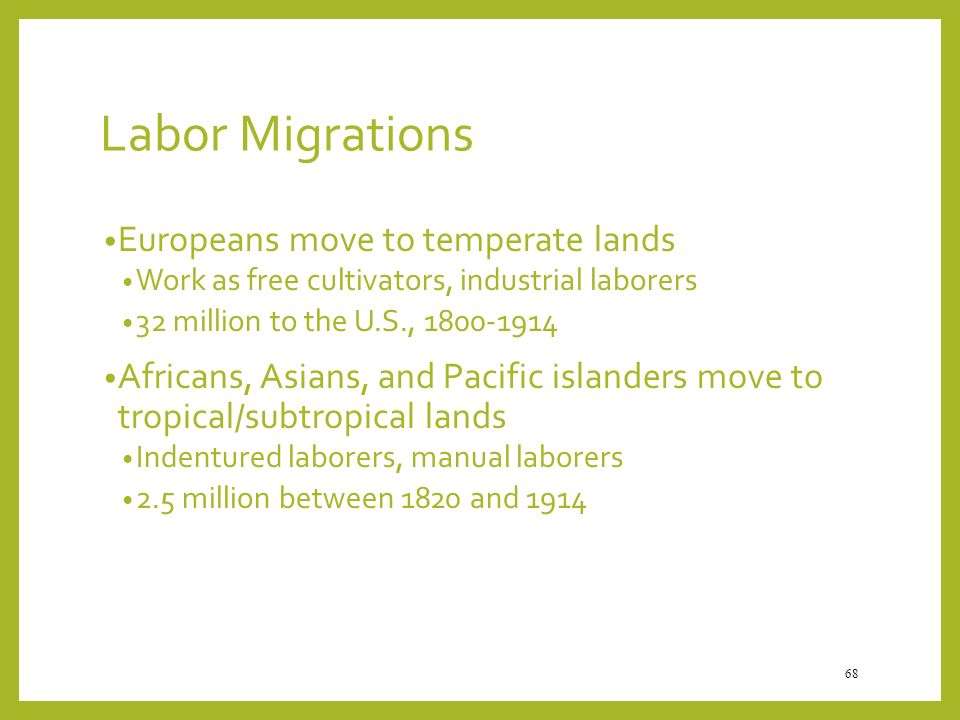 Labor Migrations Europeans move to temperate lands
