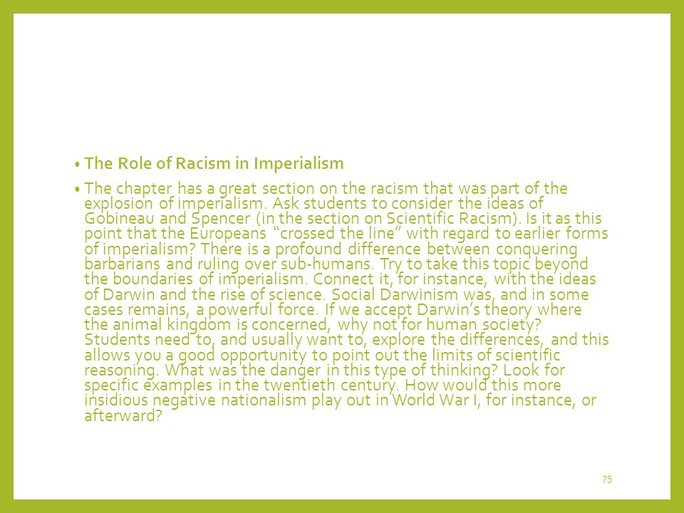 The Role of Racism in Imperialism
