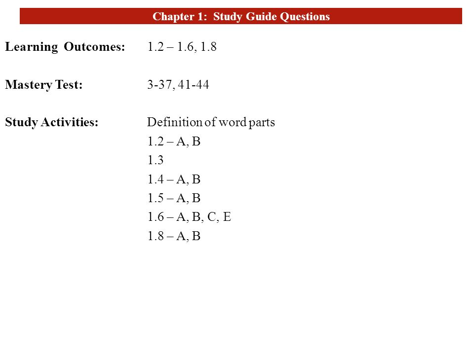 Chapter 1: Study Guide Questions - ppt video online download