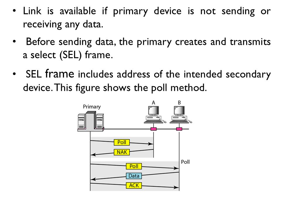 Link is available if primary device is not sending or receiving any data.