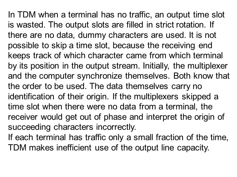 In TDM when a terminal has no traffic, an output time slot is wasted