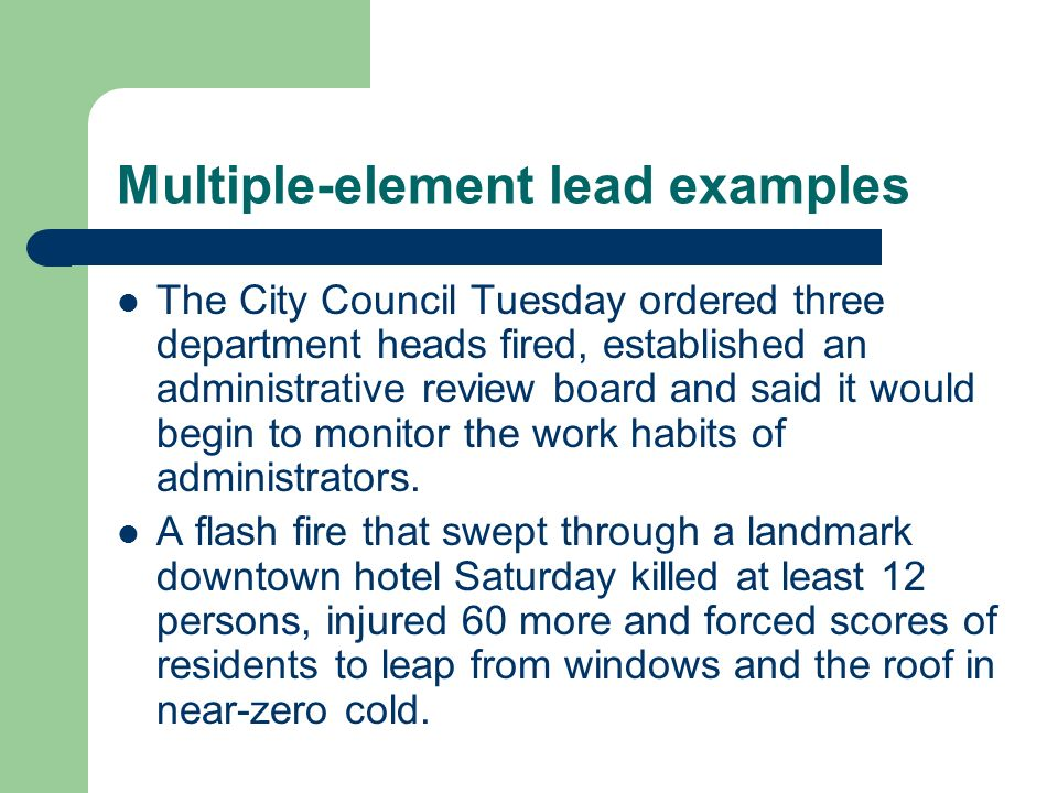Leads Summary And Multiple Element Leads Leads Where The