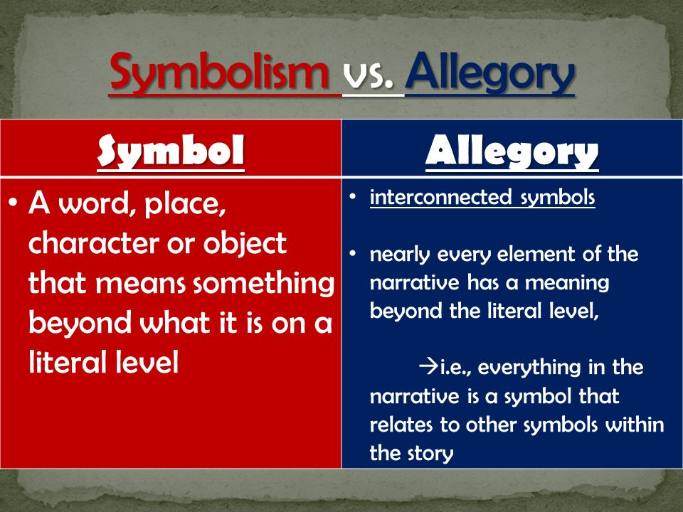 allegory symbolism Objective: students will be able to define, recognize and explain symbolism,  allegory and figurative language symbolism and allegory q: what does it mean  to.