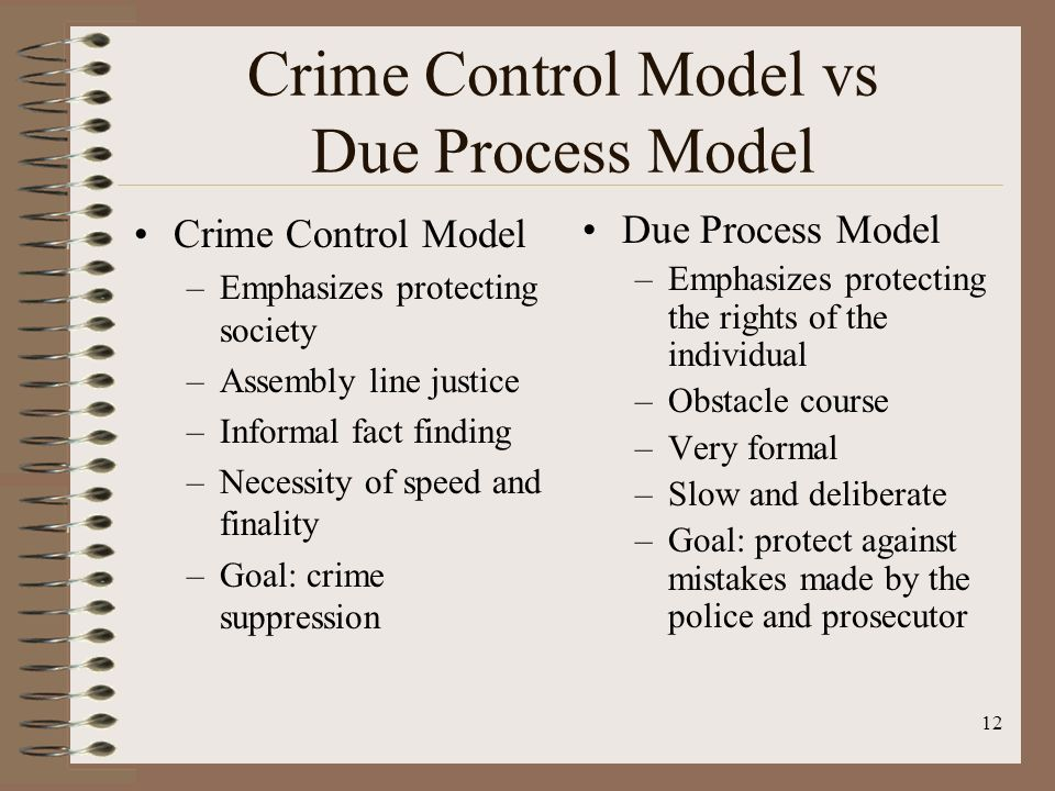 examples of due process model and crime control model Dure: the crime control model and the due process model6 as its name suggests, the crime control model posits that the most important function of the criminal justice system is to effectively suppress crime7 this model.