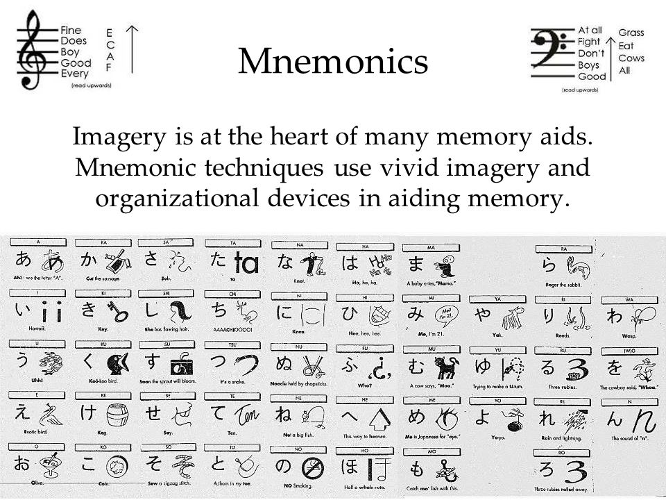 an overview of mnemonic devices But there are small glimmers of hope, in the form of the huge number of rhymes, mnemonics and memory aids that generations of teachers have devised to help native and non-native speakers alike to remember the rules of english spelling and grammar.