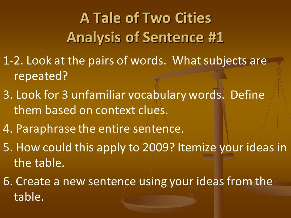 """literary analysis of the novel a tale of two cities by dickens A tale of two cities is an excellent choice of reading material for senior high school students it is probably the least """"dickensian"""" of his fourteen novels in that it has less of the grotesque, fewer characters, more big scenes, and a less complicated plot."""
