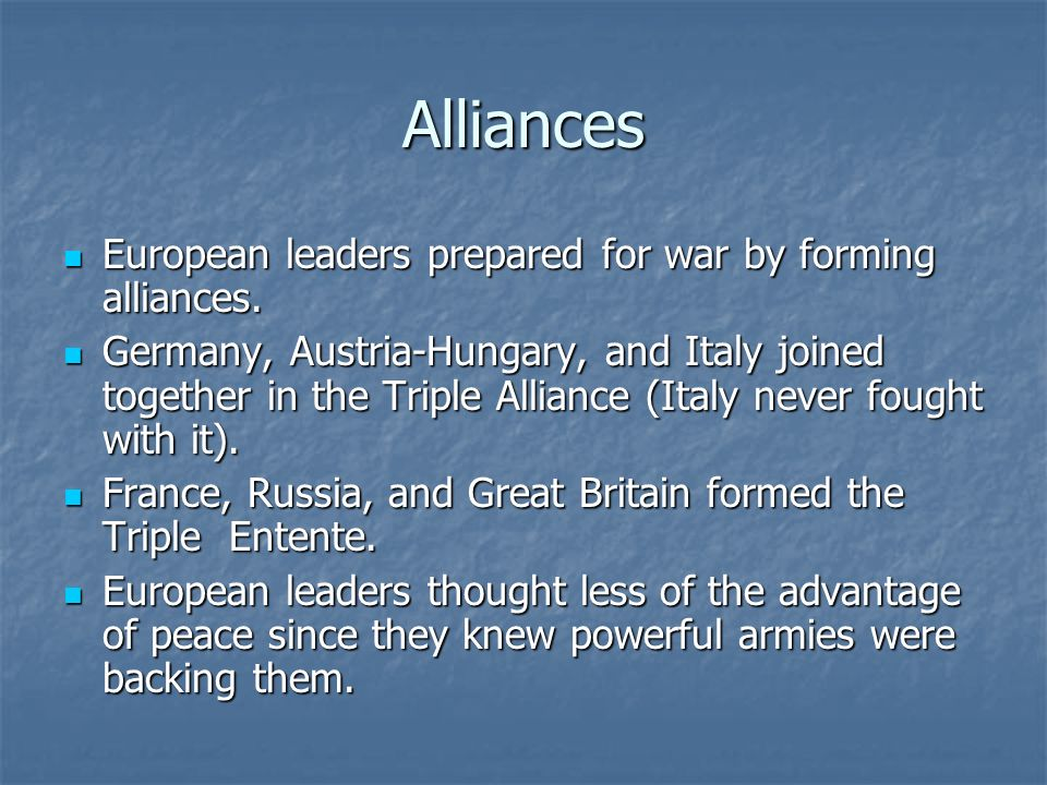 the formation of the triple alliance of germany austria hungary and italy in europe The triple alliance included germany, austria-hungary and italy the logic  supporting the formation of the triple alliance was that they all promised to go to  war if.