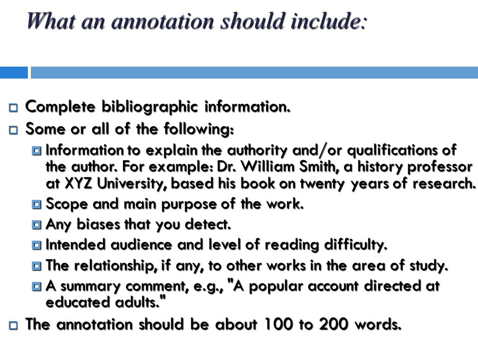 how to prepare an annotated bibliography ppt
