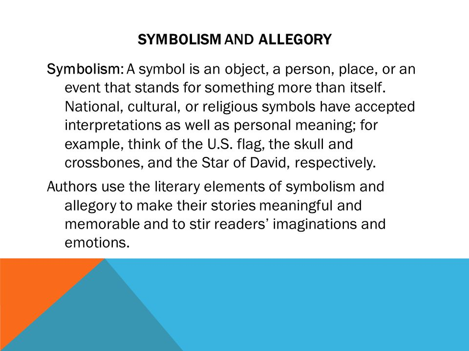 the use of symbolism and allegories in american literature Symbolism in american romanticism  the american romantics have given us some of the greatest symbols in all of american literature  the american romantics use .