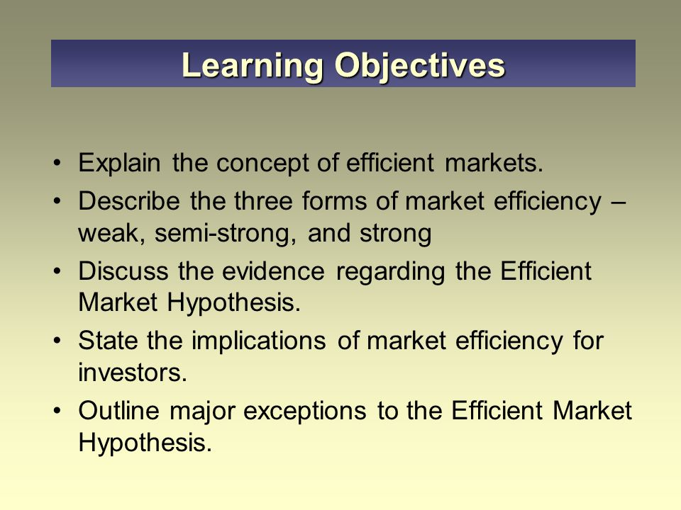 concept of efficient market hypothesis The behavioural finance: a challenge or replacement to efficient market concept  a challenge or replacement to efficient market concept.