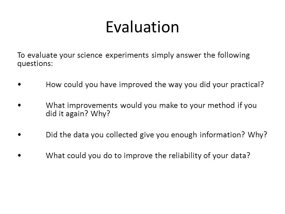 how to write an evaluation for science experiment
