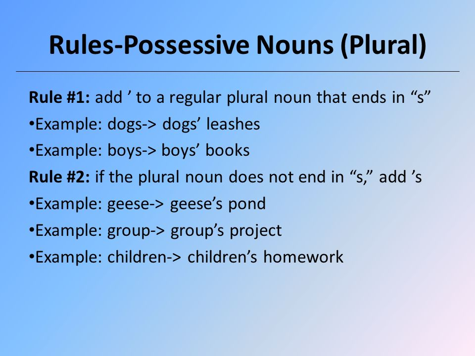 how to use possessive nouns