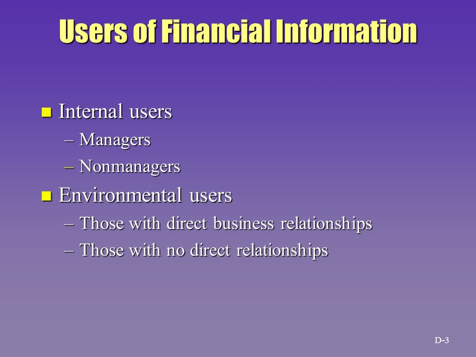 users of financial information Best answer: the users of financial statements include present and potential investors, employees, lenders, suppliers and other trade creditors, customers.