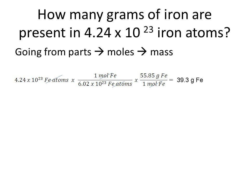How many grams of iron are present in 4.24 x iron atoms