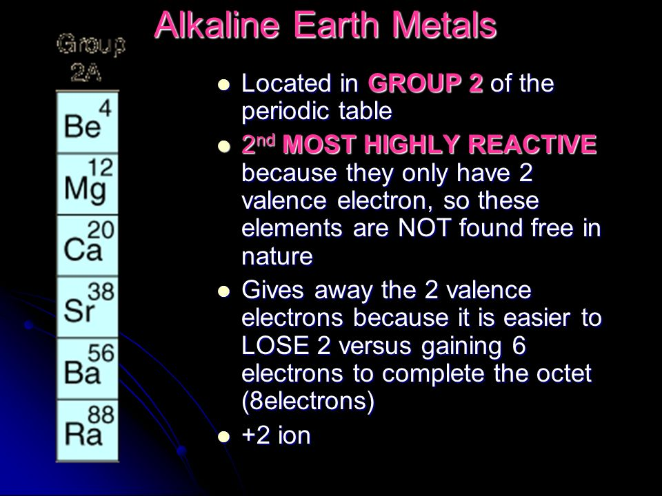 Elements and their properties ppt video online download 12 alkaline earth metals located in group 2 of the periodic table urtaz Gallery