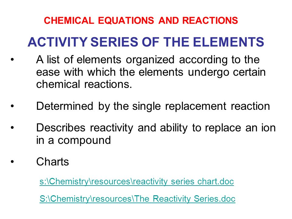 list of chemical reactions and equations pdf