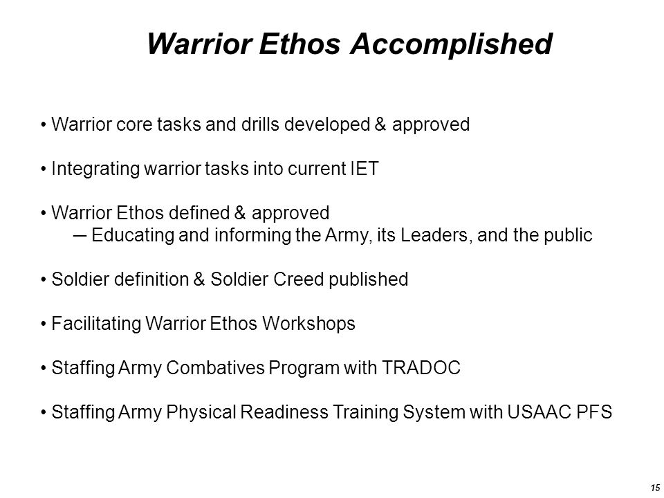 What the Warrior Ethos means to me
