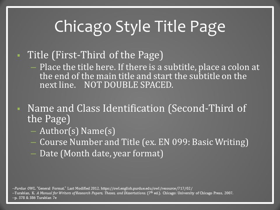 chicago style citation title page A paper in chicago/turabian style has a title page that follows specific formatting   these are the formatting rules for different levels of headings in apa style.