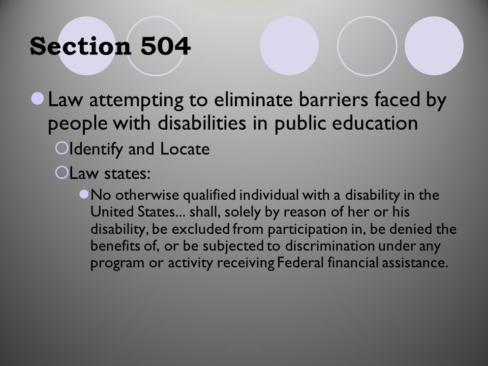 the impact of section 504 of Section 504 update presented by david m richards  in january 2012, ocr released a long-awaited guidance document on the adaaa and its impact on section 504.