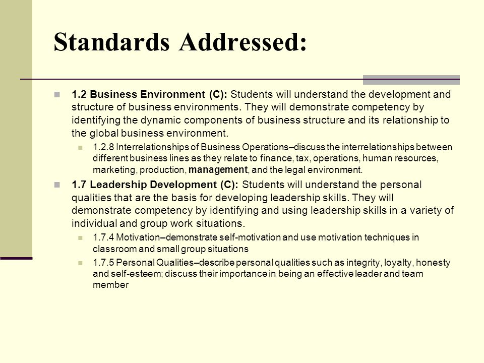 Standards Addressed: