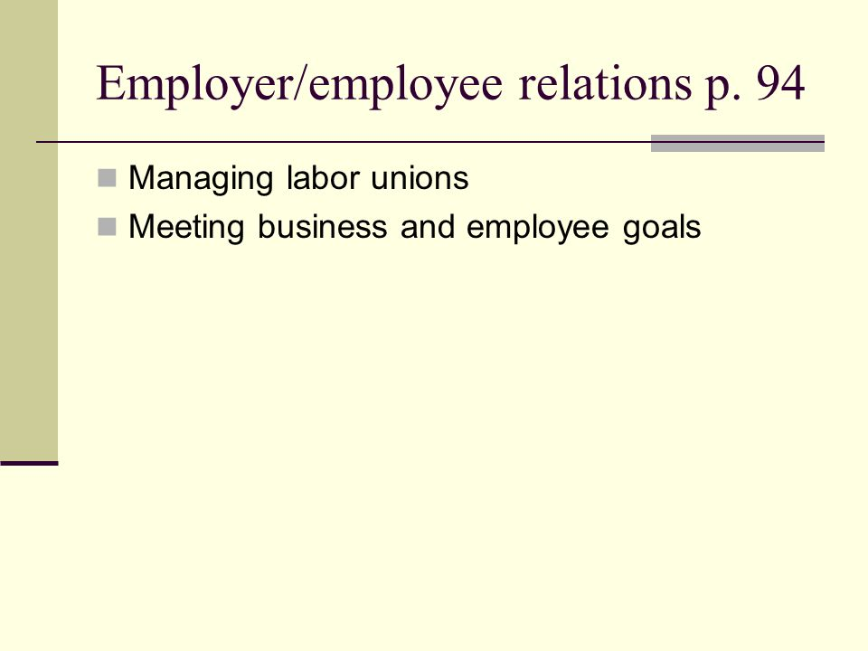 Employer/employee relations p. 94