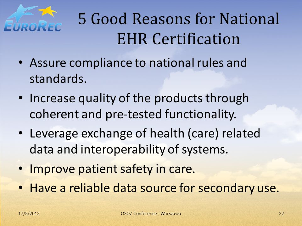 5 Good Reasons for National EHR Certification