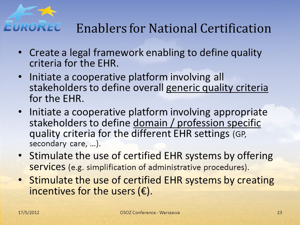 Enablers for National Certification