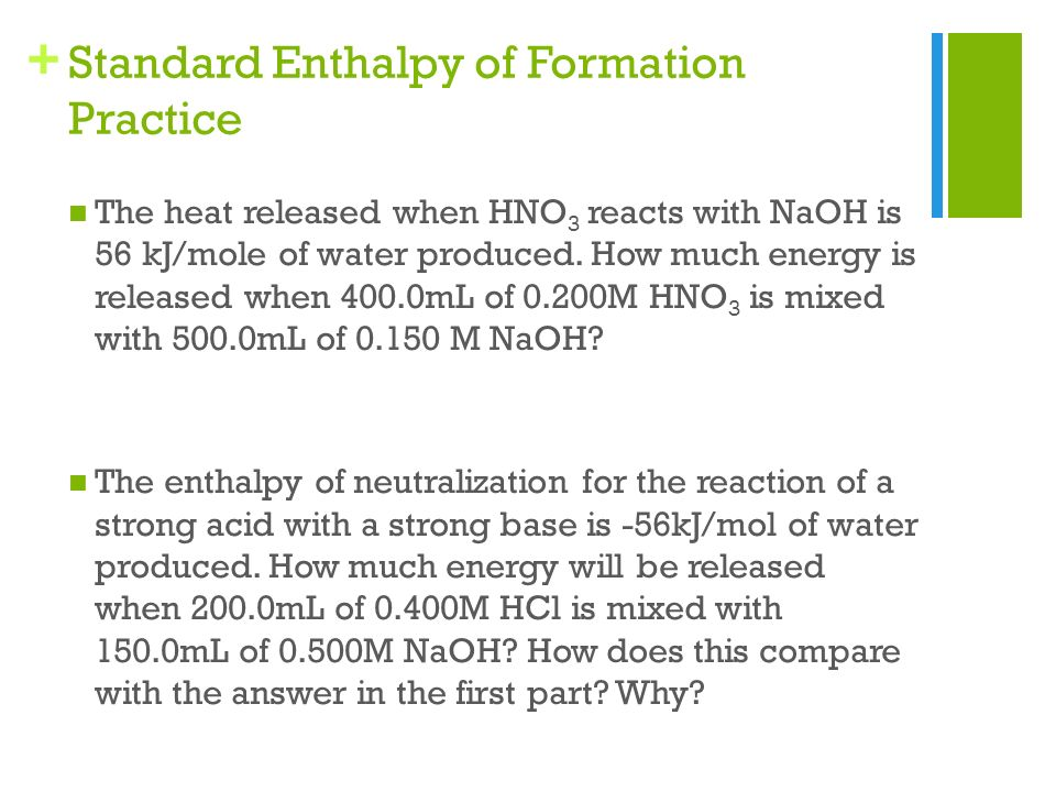 Enthalpy of neutralization