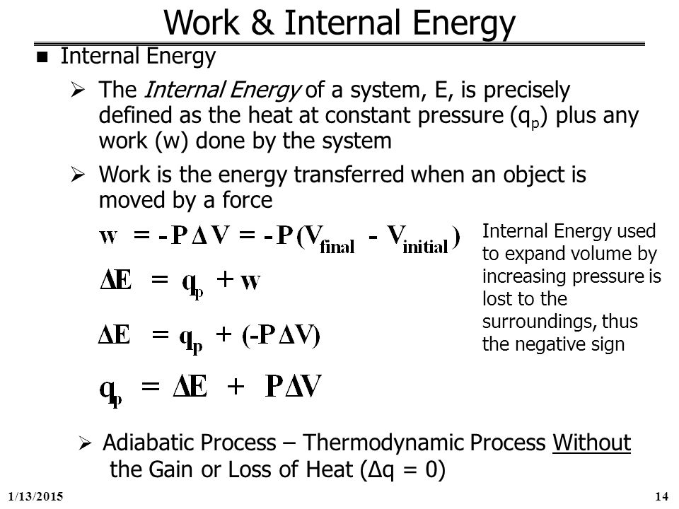 how to calculate internal energy change of combustion