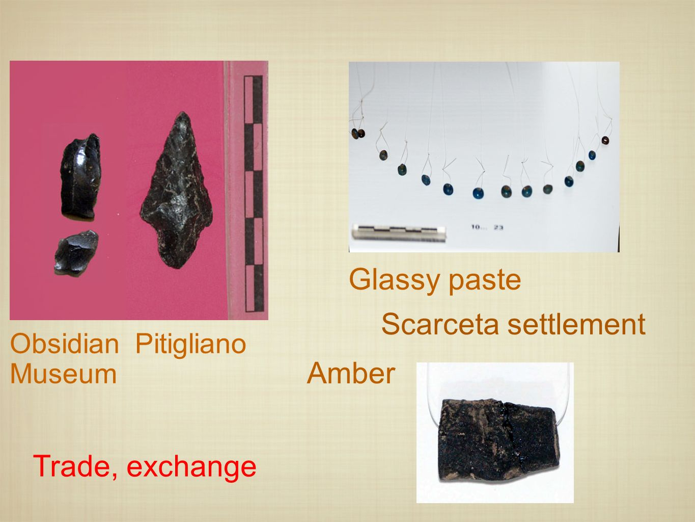 Glassy paste Scarceta settlement Amber Trade, exchange