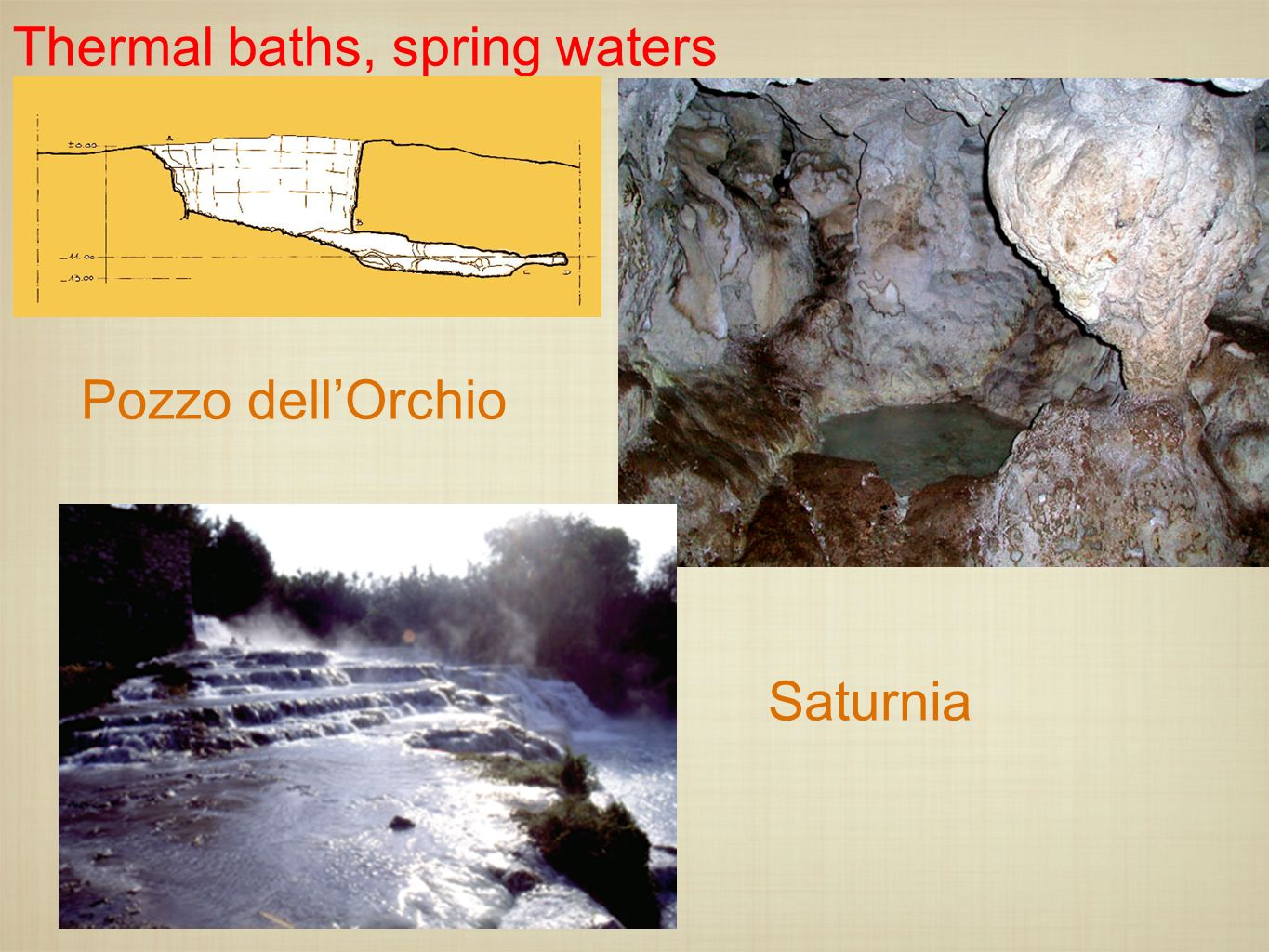 Thermal baths, spring waters