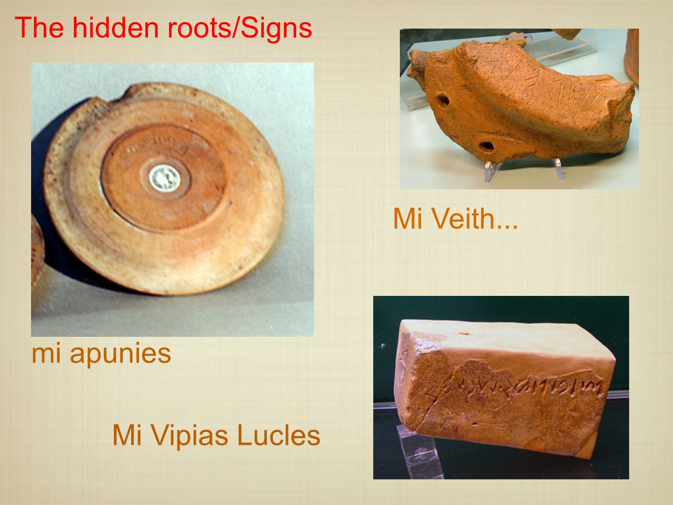 The hidden roots/Signs
