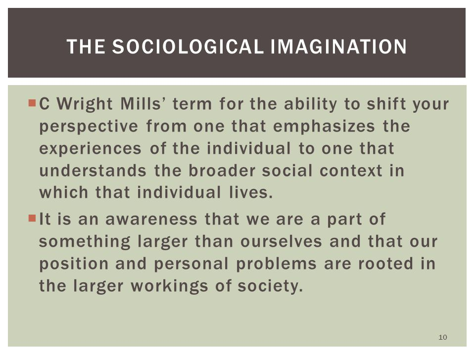 mills sociological imagination on individual problems Mills' sociological imagination enables one to participate actively in enhancing democracy in the society individual problems that are hidden in the private milieu of individual life must be understood within the context of the structural forces in operation in one's environment.