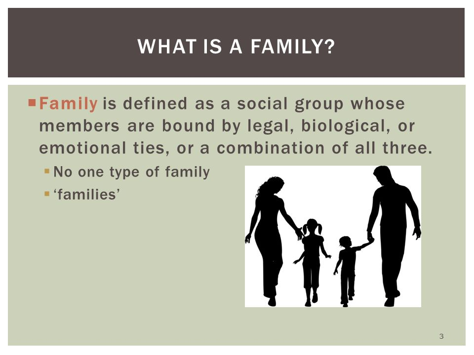 the definition of family and alternative types of families A family is a group of people related by blood or by birth closeness some family members are genetically closer to each other the following table gives examples.