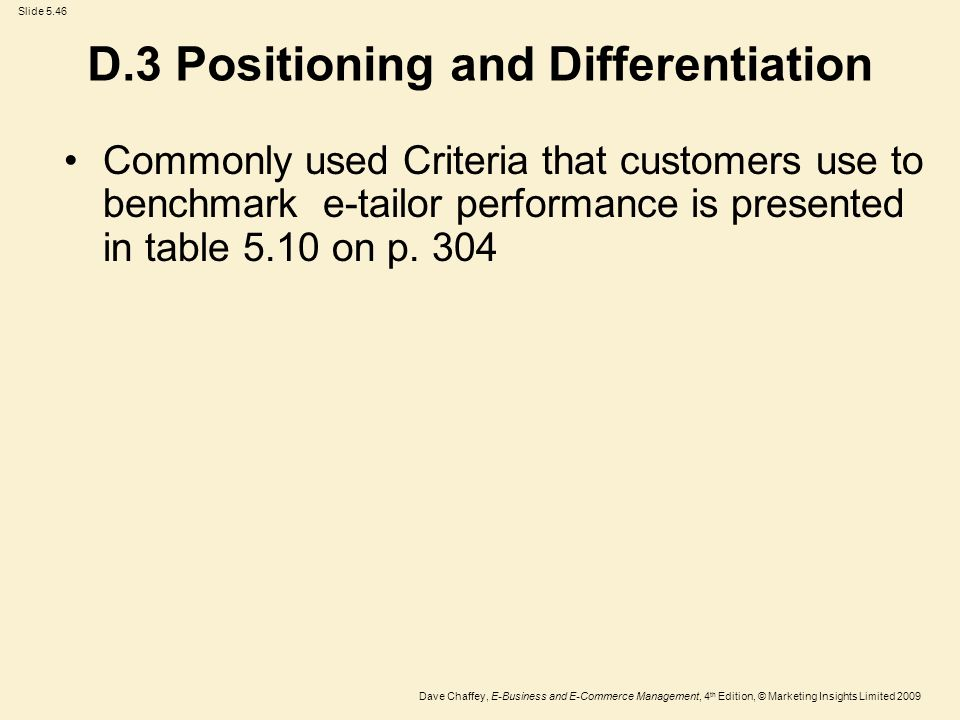 Positioning and differentation