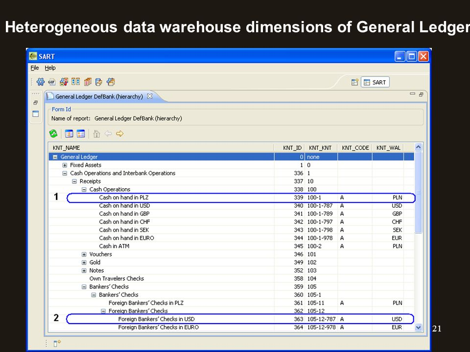 Heterogeneous data warehouse dimensions of General Ledger