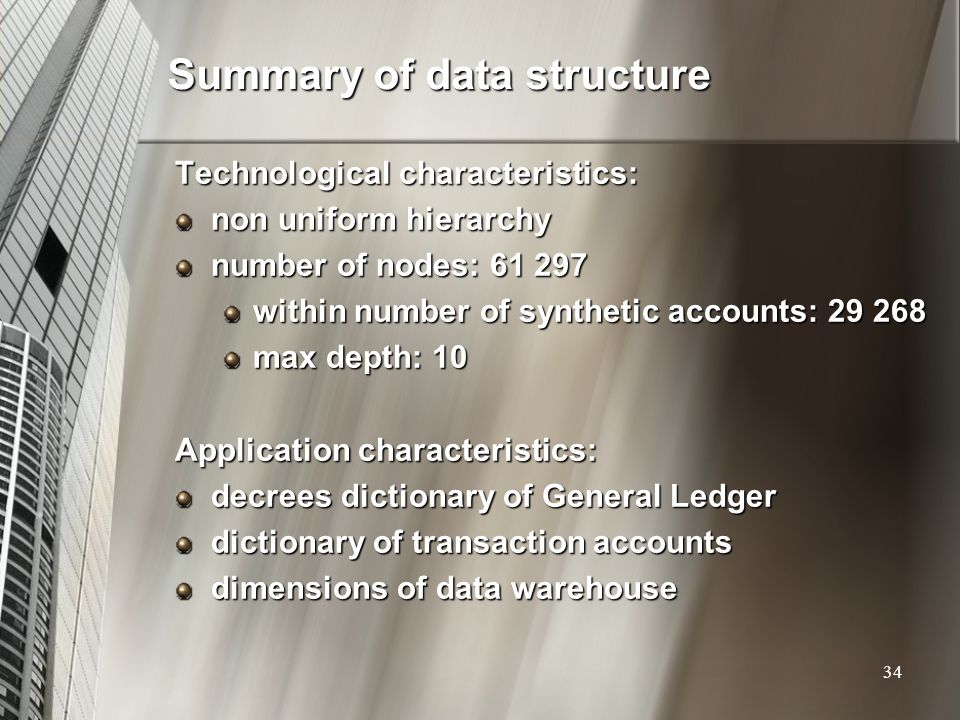 Summary of data structure
