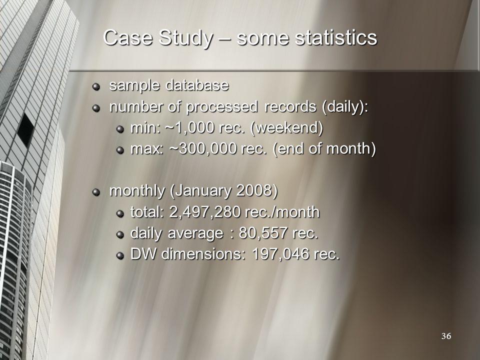 Case Study – some statistics