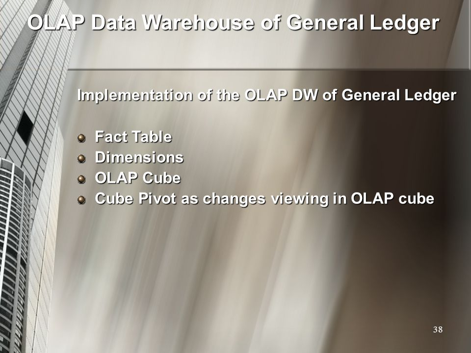 OLAP Data Warehouse of General Ledger