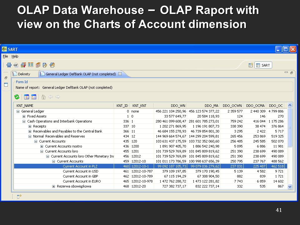 OLAP Data Warehouse – OLAP Raport with view on the Charts of Account dimension