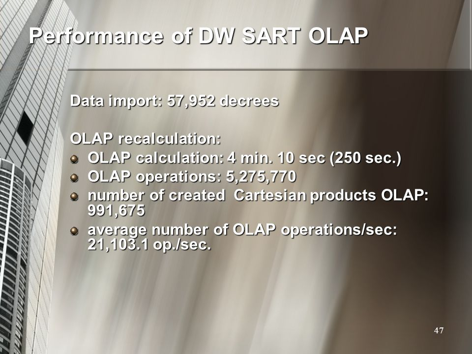 Performance of DW SART OLAP