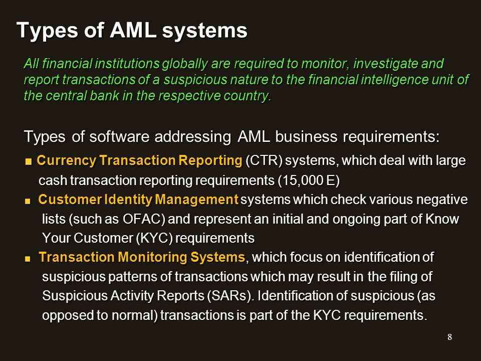 Types of AML systems
