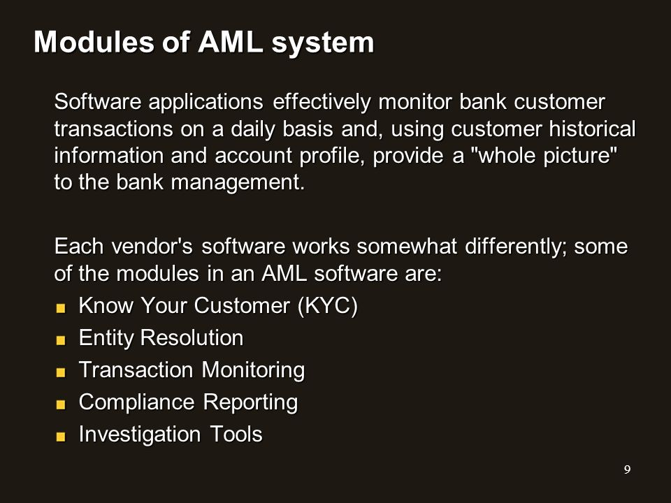 Modules of AML system