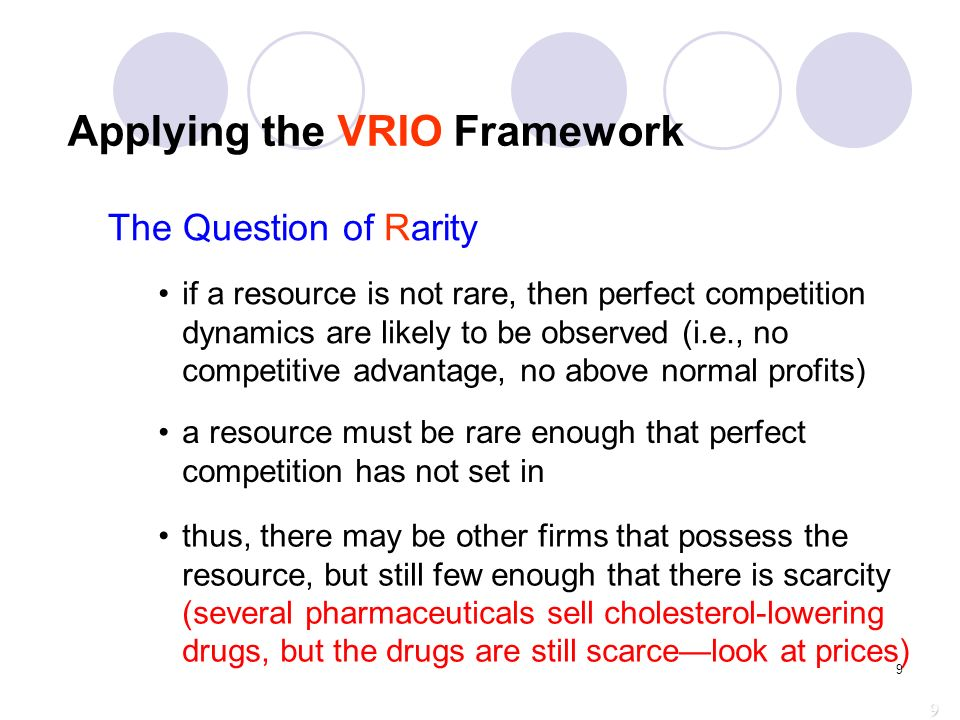 applying the vrio framework essay Strategic management in the p-o-l-c framework  the vrio framework suggests that a capability, or a resource, such as a patent or great location, .
