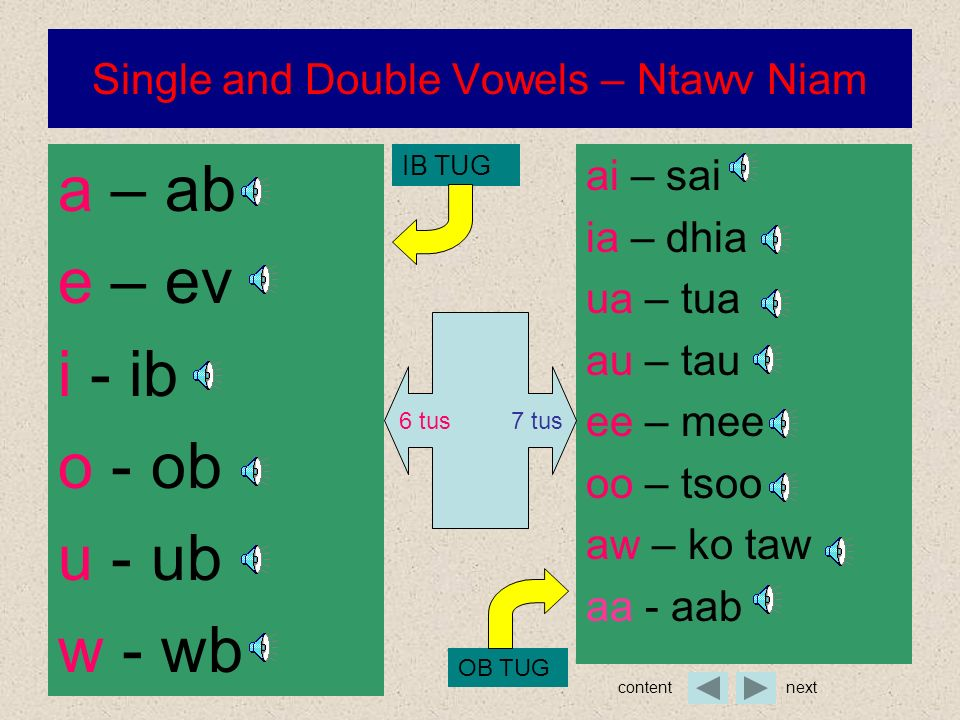 Single and Double Vowels – Ntawv Niam